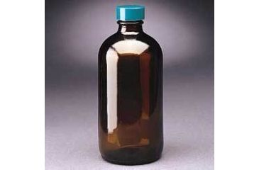 Qorpak Boston Round Bottles, Amber, Narrow Mouth, Qorpak 7920 With Fluoropolymer Resin-Lined Green Thermoset Cap