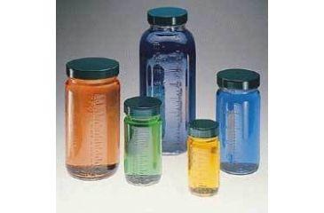 Qorpak Bottle Beakers, Medium Rounds, Wide Mouth, Qorpak 7784 With Pulp/Vinyl-Lined Black Phenolic Cap