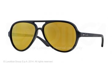Ray-Ban Cats 5000 Sunglasses RB4125 601S93-59 - Matte Black Frame, Brown Mirror Gold Lenses