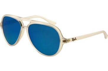 Ray-Ban Cats 5000 Sunglasses RB4125 646/17-5913 - Matte Transparent Frame, Crystal Green Mirror Multi Blue Lenses