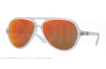 Ray-Ban Cats 5000 Sunglasses RB4125 646/69-5913 - Matte Transparent Frame, Crystal Brown/Orange Mirror Lenses