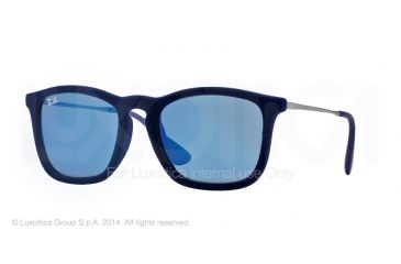 Ray-Ban CHRIS RB4187 Progressive Prescription Sunglasses RB4187-608155-54 - Lens Diameter 54 mm, Frame Color Flock Blue