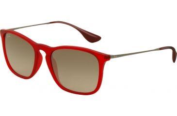 Ray-Ban CHRIS RB4187 Progressive Prescription Sunglasses RB4187-898-11-5418 - Lens Diameter 54 mm, Frame Color Transparent Red Rubber