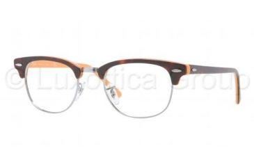 Ray-Ban Clubmaster Eyeglasses RX5154 with Rx Prescription Lenses 5160-4921 - Top Dark Havana on Orange Frame, Demo Lens Lenses