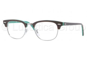 Ray-Ban Clubmaster Eyeglasses RX5154 with Rx Prescription Lenses 5161-4921 - Top Light Havana on Green Frame, Demo Lens Lenses