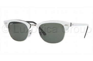 Ray-Ban Clubmaster II Sunglasses RB2156 956-4921 - Top White On Black Crystal Green