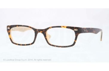 Ray-Ban Eyeglasses RX5150 with Lined Bifocal Rx Prescription Lenses 5239-48 - Top Dark Havana On Opal Peach Frame