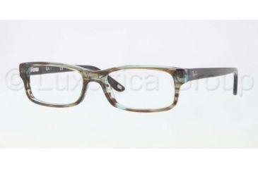 Ray-Ban Eyeglasses RX5187 with No-Line Progressive Rx Prescription Lenses 5163-5016 - Azure Transparent Brown Frame, Demo Lens Lenses