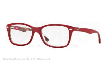 Ray-Ban Eyeglasses RX5228 with Rx Prescription Lenses 5406-50 - Top Matte Red On Texture Camuf Frame