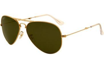Ray-Ban Folding Aviator RB3479 Sunglasses 001/58-5814 - Arista Frame, Crystal Green Lenses