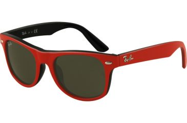 RayBan Junior RJ9035S Sunglasses with No Line Progressive Rx Prescription Lenses RJ9035S-162-71-4417 - Lens Diameter 44 mm, Frame Color Top Red On Black