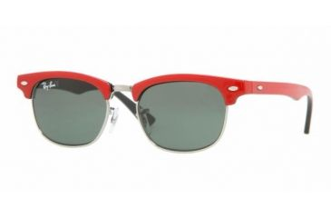 Ray Ban Junior RJ9050S #162/71 - Top Red On Black Frame, Green Lenses