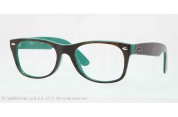Ray-Ban New Wayfarer Eyeglasses RX5184 with No-Line Progressive Rx Prescription Lenses 5161-50 - Top Light Havana on Green Frame, Demo Lens Lenses