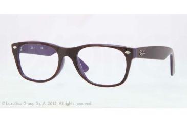 Ray-Ban New Wayfarer Eyeglasses RX5184 with No-Line Progressive Rx Prescription Lenses 5215-50 - Top Dark Havana On Violet Frame, Demo Lens Lenses