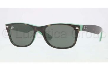Ray-Ban New Wayfarer Sunglasses RB2132 6013-5218 - Top Havana / Green Frame, Green Lenses