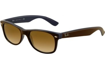 Ray-Ban New Wayfarer Sunglasses RB2132 874/51-5518 - Top Brown on Blue Frame, Crystal Brown Gradient Lenses