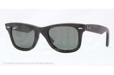 Ray-Ban ORIGINAL WAYFARER RB2140QM Sunglasses 1152N5-50 - Black Leather Used Frame, Polar Neophan Green Lenses