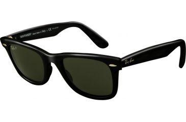 Ray-Ban Original Wayfarer Sunglasses, Black Crystal Green Polarized Frame / Polarized 54mm Lenses, 901-58-5418