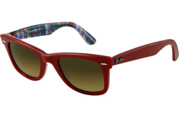 Ray-Ban Original Wayfarer Bifocal Sunglasses RB2140 with Lined Bi-Focal Rx Prescription Lenses RB2140-113385-5022 - Lens Diameter 50 mm, Frame Color Top Red on Plaid Texture