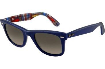 Ray-Ban Original Wayfarer RB2140 Sunglasses with No-Line Progressive Rx Prescription Lenses RB2140-113471-5022 - Lens Diameter 50 mm, Frame Color Top Blue on Texture Plaid