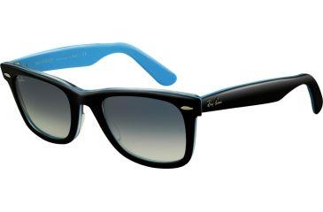 Ray-Ban RB2140 Progressive Sunglasses - Top Black On Tr. St. Azu Crystal Gradient Light Blue Frame / 50 mm Prescription Lenses, 10013F-5022