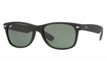 Ray-Ban New Wayfarer Sunglasses, Black Rubber Frame, Green Lens #622-5518