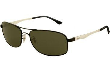 Ray-Ban RB3484 Sunglasses 002-6017 - Black Frame, Crystal Green Lenses