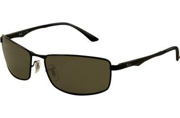 Ray-Ban RB3498 Sunglasses 002/71-6417 - Black Frame, Green Lenses