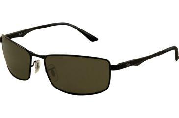 Ray-Ban RB3498 Sunglasses 002/9A-6417 - Black Frame, Green Lenses