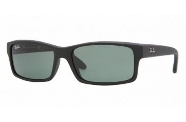 Ray Ban RB4151 #622 - Black Rubber Frame, Crystal Green Lenses