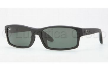 Ray-Ban RB4151F Sunglasses 622/71-5917 - Black Rubberize Frame, Green Lenses