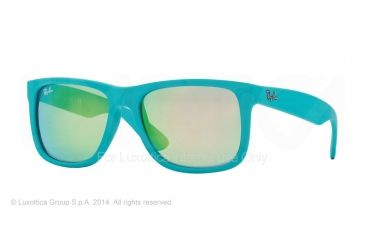 Ray-Ban RB4165 Sunglasses 60903R-51 - Turquoise Rubber Frame, Green Mirror Green Lenses