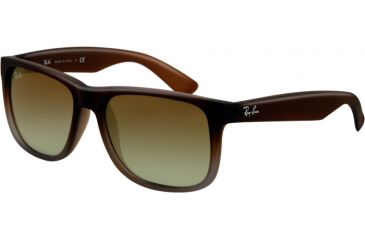 Ray-Ban RB4165 Sunglasses 854/7Z-5116 - Rubber Brown On Grey Frame, Green Gradient Lenses