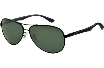 Ray-Ban RB8313 Sunglasses 002-6113 - Black Frame, Crystal Green Lenses