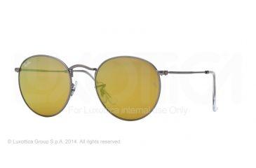 Ray-Ban Round Metal Sunglasses RB3447 029/93-50 - Matte Gunmetal Frame, Brown Mirror Gold Lenses