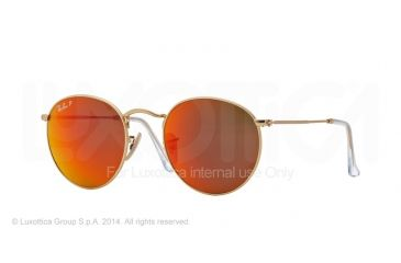 Ray-Ban Round Metal Sunglasses RB3447 112/4D-50 - Matte Gold Frame, Brown Mirror Red Polar Lenses