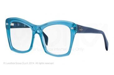 Ray-Ban RX5255 Progressive Prescription Eyeglasses 5235-51 - Shiny Trasparent Blue Frame