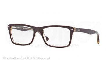 Ray-Ban RX5287 Single Vision Prescription Eyeglasses 5372-52 - Top Red On Trasparent Beige Frame