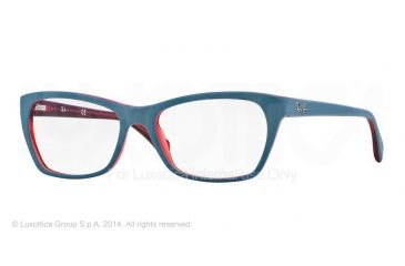 Ray-Ban RX5298 Single Vision Prescription Eyeglasses 5388-53 - Top Matte Oil On Trasp Red Frame
