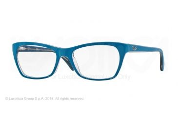 Ray-Ban RX5298 Progressive Prescription Eyeglasses 5391-53 - Top Matte Blue On Trasp Beige Frame