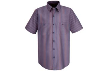Red Kap Industrial Stripe Work Shirt, Navy/Red Stripe, SSL SP24RNSSL