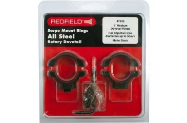 Redfield 1in Rotary Dovetail Steel Riflescope Rings, Medium, Matte Black - 47230