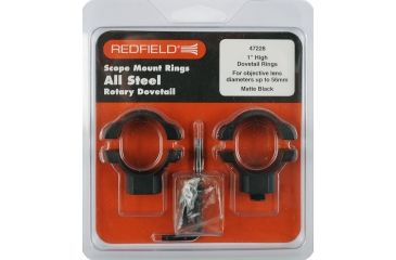 Redfield Mounts 1in Rotary Dovetail Steel Rifle Scope Rings - High, Matte Black 47228