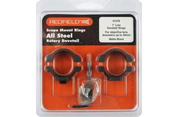 Redfield Mounts 1in Rotary Dovetail Steel Rifle Scope Rings - Low, Black, Matte 47378