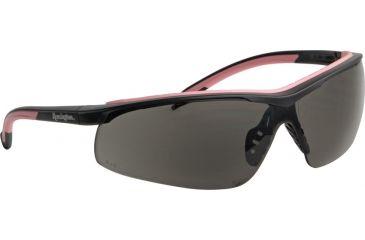 Remington T-71P Womens Shooting Glasses, Polycarbonate lens, Smoke lenses. Black frames with pink trim RE452