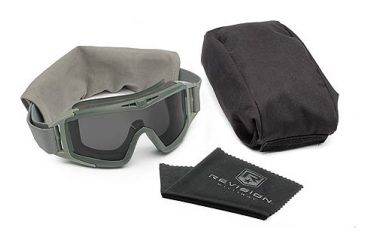 Revision Military Eyewear Desert Locust Extreme Weather Goggles - Smoke Lens, Green Frame - Basic Kit