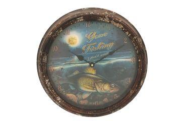 River's Edge 15in. Diameter Metal Clock, Walleye 195113