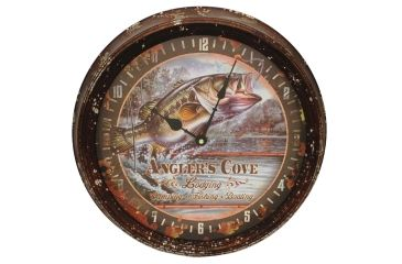 River's Edge 15in. Diameter Metal Clock, Bass 195114
