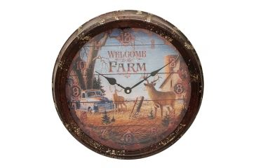 River's Edge 15in. Diameter Metal Clock, Welcome Deer 195116