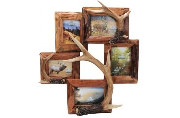 River's Edge Resin Picture Frame, 5 Photo, Deer, Antler, 19in W x 21in H, Holds Three 4inx6in, Two 3.5inx5i 184102